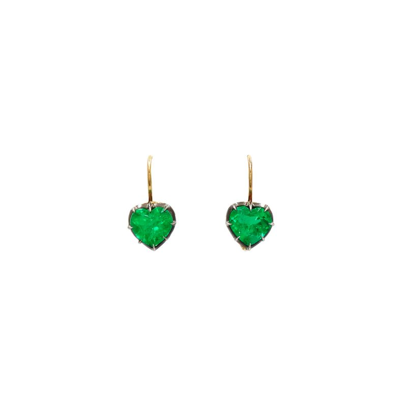 Inspired By The Past: Modern Jewelry Pieces By Fred Leighton fred leighton Inspired By The Past: Modern Jewelry Pieces By Fred Leighton Heart Shape Emerald Collet Single Drop Earrings Signed Fred Leighton