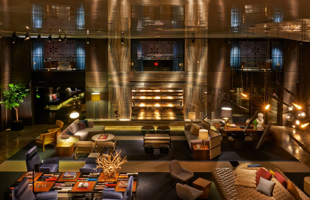 Warm And Dramatic Details Inside Hotel Paramount By Philippe Starck