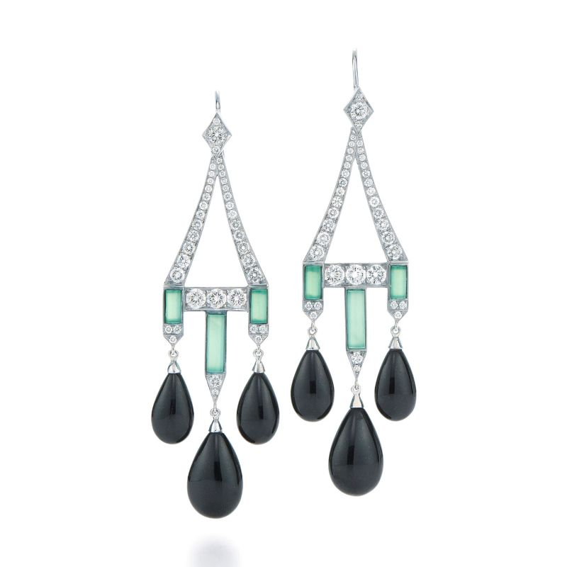 Inspired By The Past: Modern Jewelry Pieces By Fred Leighton fred leighton Inspired By The Past: Modern Jewelry Pieces By Fred Leighton Signed Fred Leighton Black Jade and Chrysoprase Earrings With Diamonds