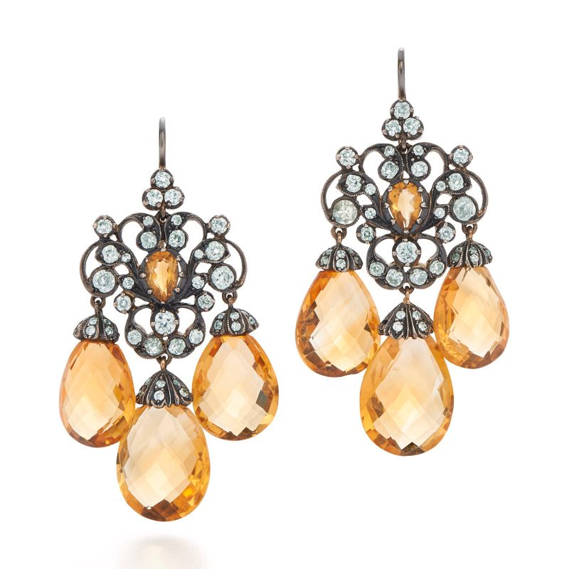 Inspired By The Past: Modern Jewelry Pieces By Fred Leighton fred leighton Inspired By The Past: Modern Jewelry Pieces By Fred Leighton Signed Fred Leighton Citrine and Diamond Chandelier Earrings