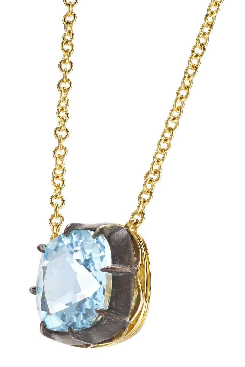 Inspired By The Past: Modern Jewelry Pieces By Fred Leighton fred leighton Inspired By The Past: Modern Jewelry Pieces By Fred Leighton Signed Fred Leighton Cushion Blue Topaz Collet Solitaire Pendant Necklace