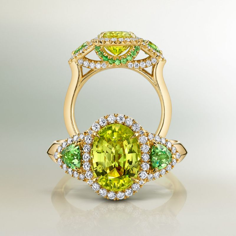 The Bold Color Collection: Dazzling Masterpieces By Omi Privé omi privé The Bold Color Collection: Dazzling Masterpieces By Omi Privé Chrysoberyl Tsavorite Diamond Ring