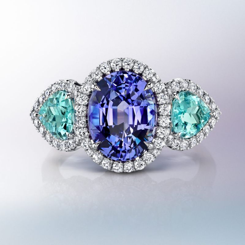 The Bold Color Collection: Dazzling Masterpieces By Omi Privé omi privé The Bold Color Collection: Dazzling Masterpieces By Omi Privé Fancy Sapphire Para  ba Type Tourmaline Diamond Ring