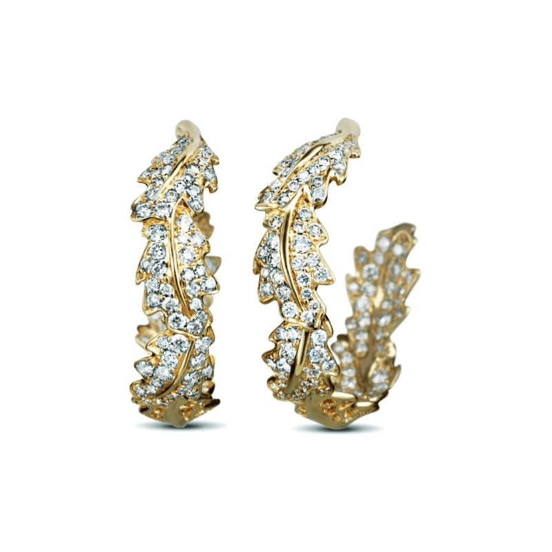 The Woodland Collection By Asprey: Jewelry With Naturalistic Forms asprey The Woodland Collection By Asprey: Jewelry With Naturalistic Forms Oak Leaf Small Hoop Earrings Yellow Gold