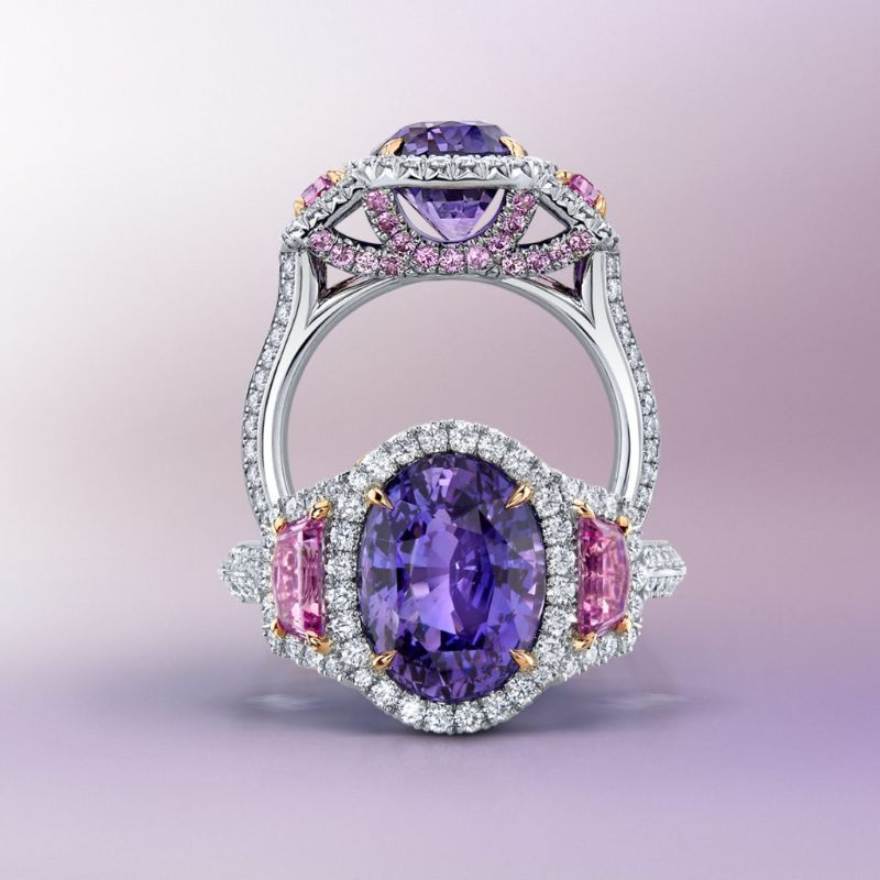 The Bold Color Collection: Dazzling Masterpieces By Omi Privé omi privé The Bold Color Collection: Dazzling Masterpieces By Omi Privé Pinkish Purple Sapphire Pink Sapphire Diamond Ring