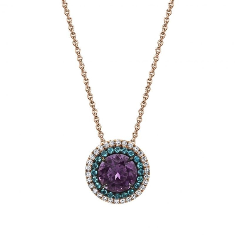 The Bold Color Collection: Dazzling Masterpieces By Omi Privé omi privé The Bold Color Collection: Dazzling Masterpieces By Omi Privé Purple Spinel Alexandrite Diamond Pendant