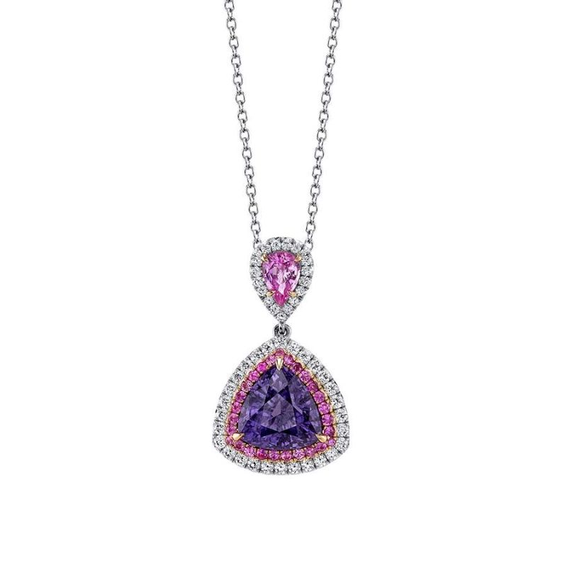 The Bold Color Collection: Dazzling Masterpieces By Omi Privé omi privé The Bold Color Collection: Dazzling Masterpieces By Omi Privé Purple Spinel Pink Sapphire Diamond Pendant