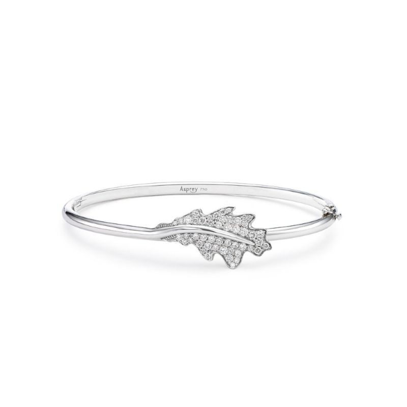 The Woodland Collection By Asprey: Jewelry With Naturalistic Forms asprey The Woodland Collection By Asprey: Jewelry With Naturalistic Forms Single Oak Leaf Bangle White Gold
