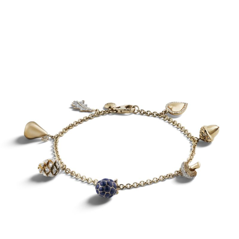 The Woodland Collection By Asprey: Jewelry With Naturalistic Forms asprey The Woodland Collection By Asprey: Jewelry With Naturalistic Forms Woodland Mini Charm Bracelet Yellow Gold