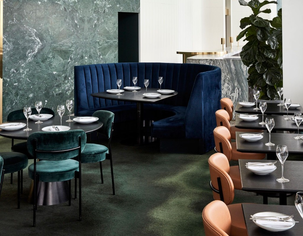 Mim Design Creates A Blue And Gold Aesthetic In New Rooftop Restaurant
