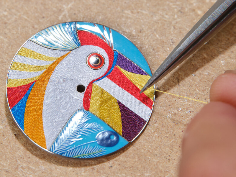 Hermès' New Limited Edition Toucan Watch Features Embroidery Art